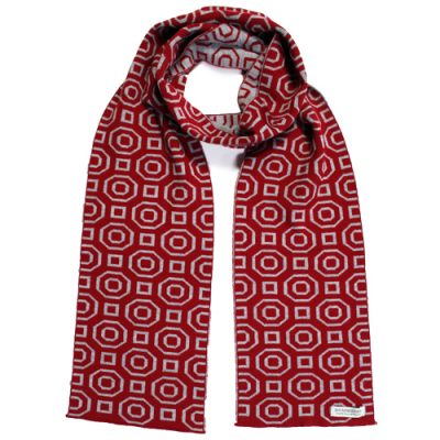 An Australian Made, Branberry Pure Merino Wool Art Deco Scarf in Red & Silver