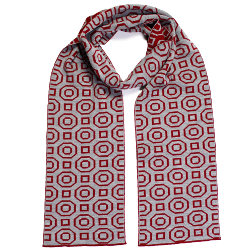 An Australian Made, Branberry Pure Merino Wool Art Deco Scarf in Silver & Red