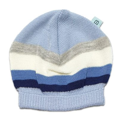 Flatlay of an Australian Made, Australian Merino Wool Striped Fusion Beanie in Blue
