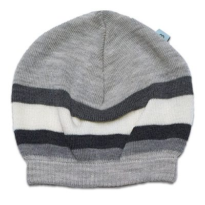 Flatlay of an Australian Made, Australian Merino Wool Striped Fusion Beanie in Grey