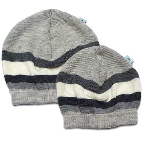 Flatlay of an Australian Made, Australian Merino Wool Striped Fusion Beanie in Grey. Two sizes newborn and toddler