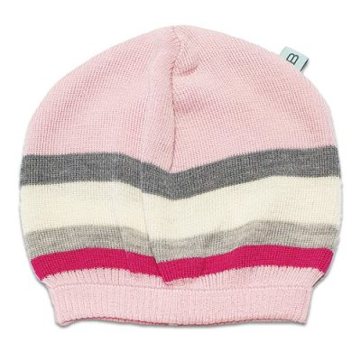 Flatlay of an Australian Made, Australian Merino Wool Striped Fusion Beanie in Pink
