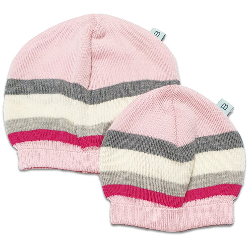 Flatlay of an Australian Made, Australian Merino Wool Striped Fusion Beanie in Pink. Two sizes newborn and toddler