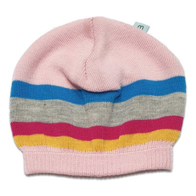 Flatlay of an Australian Made, Australian Merino Wool Striped Fusion Beanie in Multi colours