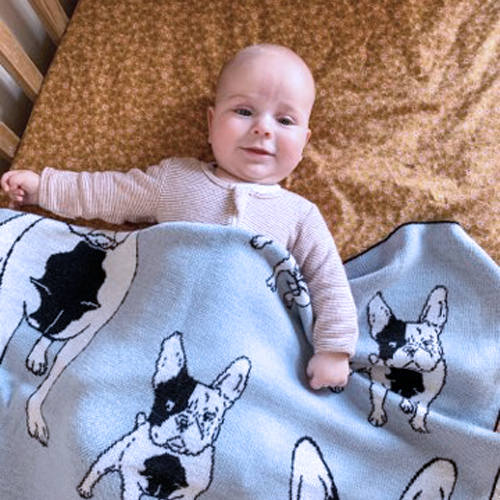 Baby boy Smiling while wrapped in a Branberry, Pure Wool French bulldog designed blanket in Blue