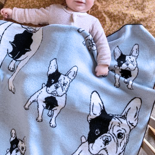 Branberry, Pure Wool French bulldog designed blanket in Blue