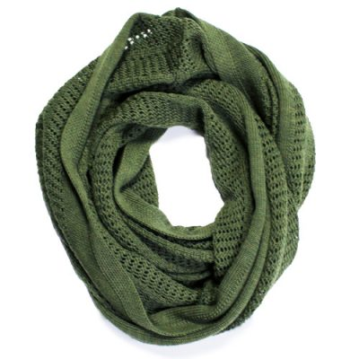 Australian Made, Australian Merino Wool Vintage Lace Looped Branberry Scarf in Olive Green
