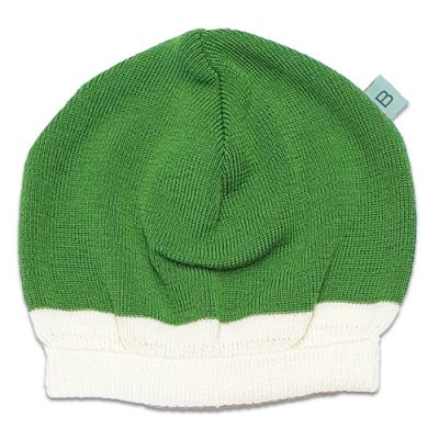 Flatlay of an Australian Made, Australian Merino Wool Zest Contrast Beanie in Apple Green and White