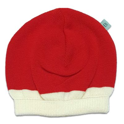 Flatlay of an Australian Made, Australian Merino Wool Zest Contrast Beanie in Flame Red and White