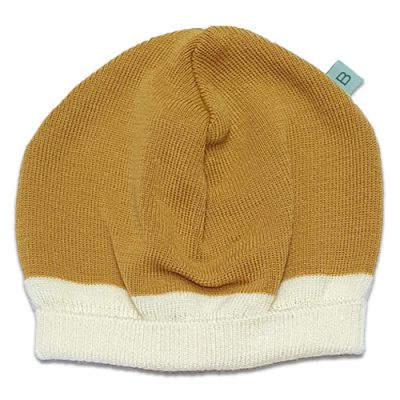 Flatlay of an Australian Made, Australian Merino Wool Zest Contrast Beanie in Mustard Yellow