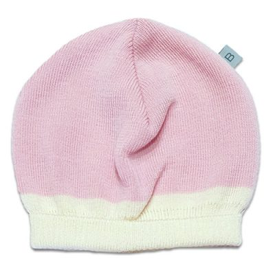 Flatlay of an Australian Made, Australian Merino Wool Zest Contrast Beanie in Pale Pink and White