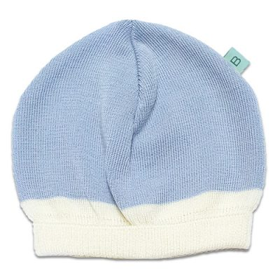 Flatlay of an Australian Made, Australian Merino Wool Zest Contrast Beanie in Pale Blue and White