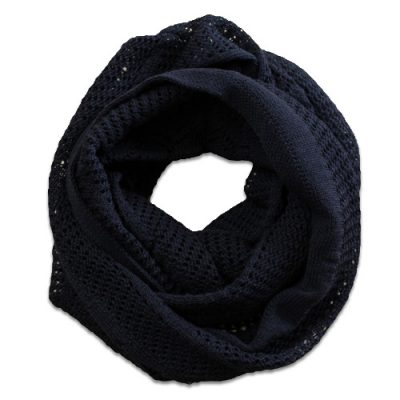 Australian Made, Australian Merino Wool Vintage Lace Looped Branberry Scarf in Black