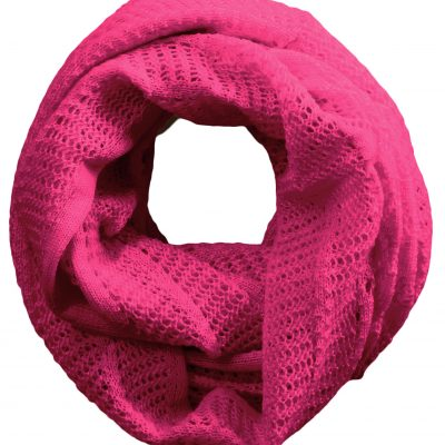 Australian Made, Australian Merino Wool Vintage Lace Looped Branberry Scarf in Magenta