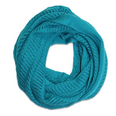 Australian Made, Australian Merino Wool Vintage Lace Looped Branberry Scarf in Aqua