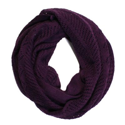 Australian Made, Australian Merino Wool Vintage Lace Looped Branberry Scarf in Blackcurrant
