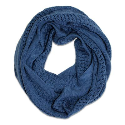 Australian Made, Australian Merino Wool Vintage Lace Looped Branberry Scarf in Denim Blue