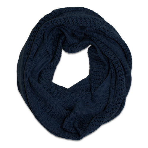 Australian Made, Australian Merino Wool Vintage Lace Looped Branberry Scarf in Ink Navy