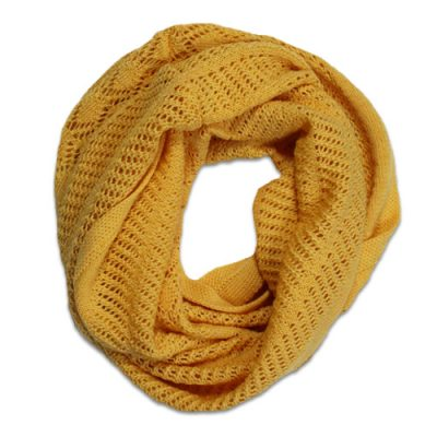 Australian Made, Australian Merino Wool Vintage Lace Looped Branberry Scarf in Mango