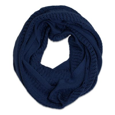 Australian Made, Australian Merino Wool Vintage Lace Looped Branberry Scarf in princeton navy