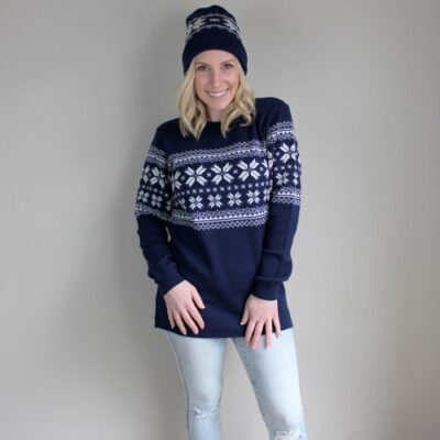 Elsa Snowflake Pure Wool Ladies Jumper in Princeton Navy