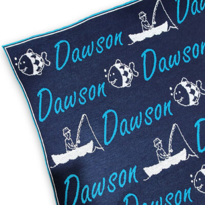 Branberry personalised Gone Fishing pure merino wool name blanket in Navy, Aqua & Smoke Grey