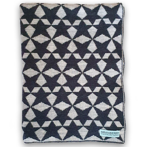 Branberry Pure Wool Star Gaze Blanket in Grey product image
