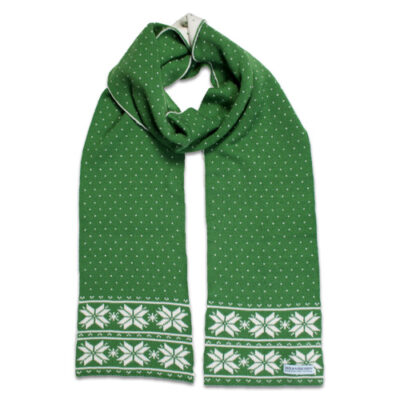 Australian Made, Australian Merino Wool Elsa Snowflake Branberry Scarf in Apple Green