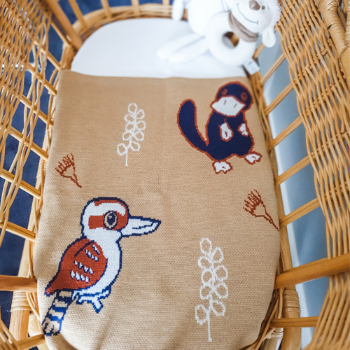 Top view of An Australian Animal knitted wool Branberry blanket in earthy desert tones placed in a bassinet