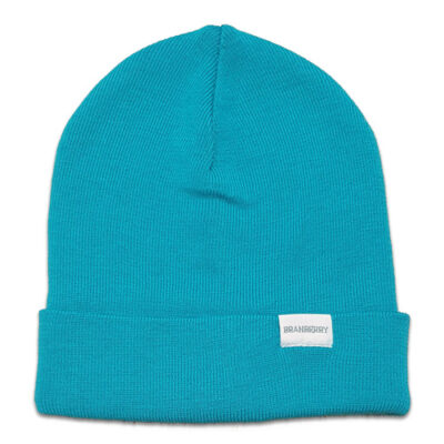 Australian Made, Australian Merino Wool Plain knit Adult Branberry Beanie in Aqua