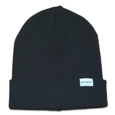 Australian Made, Australian Merino Wool Plain knit Adult Branberry Beanie in Black