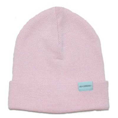 Australian Made, Australian Merino Wool Plain knit Adult Branberry Beanie in Pink Silk