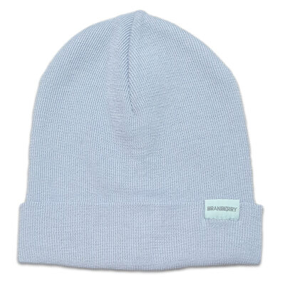 Australian Made, Australian Merino Wool Plain knit Adult Branberry Beanie in Powder Blue