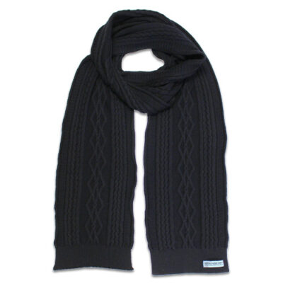 Australian Made, Australian Merino Wool Oakley Cable knitted Branberry Scarf in Black