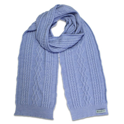 Australian Made, Australian Merino Wool Oakley Cable knitted Branberry Scarf in Blue Sky
