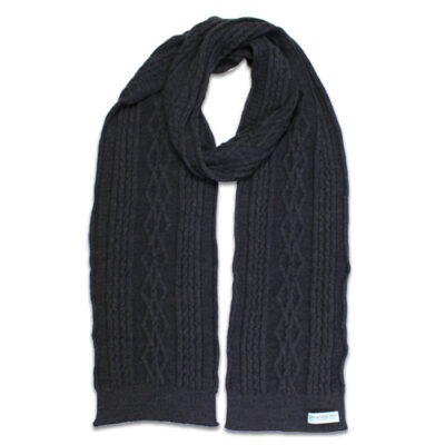 Australian Made, Australian Merino Wool Oakley Cable knitted Branberry Scarf in Bond Grey