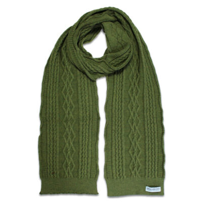 Australian Made, Australian Merino Wool Oakley Cable knitted Branberry Scarf in Olive Green