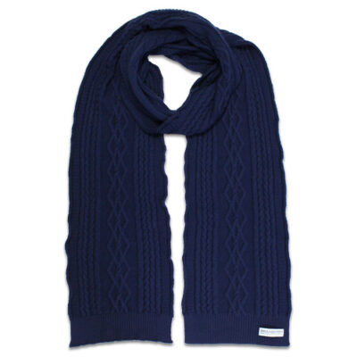 Australian Made, Australian Merino Wool Oakley Cable knitted Branberry Scarf in Princeton Navy
