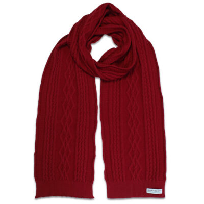 Australian Made, Australian Merino Wool Oakley Cable knitted Branberry Scarf in Sangria Red