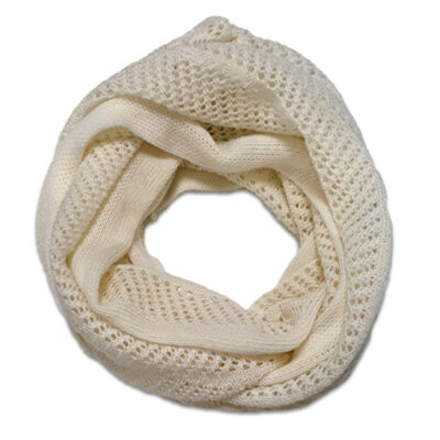 Australian Made, Australian Merino Wool Vintage Lace Looped Branberry Scarf in White Magnolia
